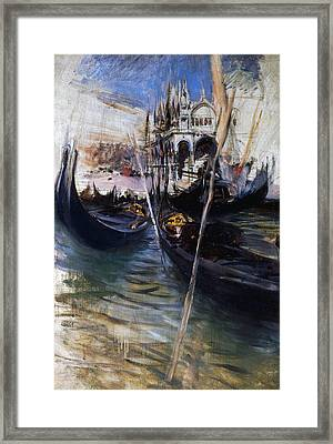 Pier And San Marco In Venice Framed Print by Giovanni Boldini