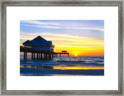 Pier  At Sunset Clearwater Beach Florida Framed Print by George Oze