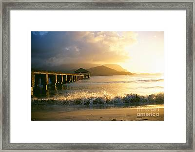 Pier At Sunset Framed Print by Peter French - Printscapes
