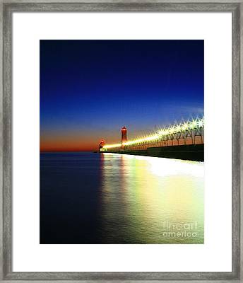 Pier Reflection Framed Print by Robert Pearson
