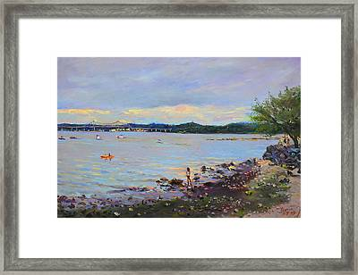 Piermont Shore Ny Framed Print by Ylli Haruni