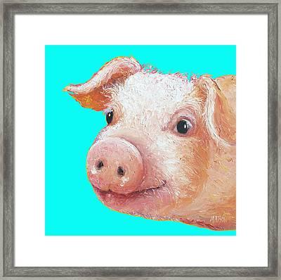 Pig Art For Kitchen Or Nursery Framed Print by Jan Matson