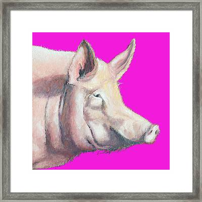 Pig Painting - Kitchen Art Framed Print by Jan Matson