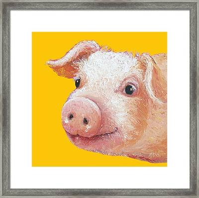 Pig Painting On Yellow Background Framed Print by Jan Matson