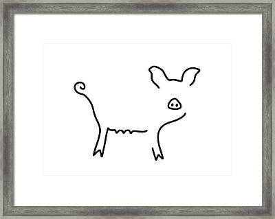 Pig Piglet Make A Mess Framed Print by Lineamentum