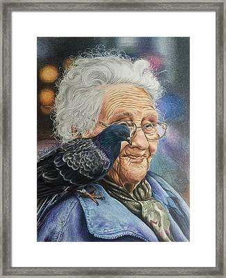 Pigeon Lady Framed Print by Debbie Fischer