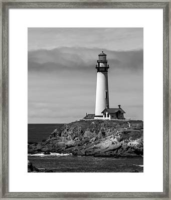 Pigeon Point Lighthouse Bw Framed Print by Jan and Burt Williams
