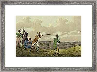 Pigeon Shooting Framed Print by Henry Thomas Alken