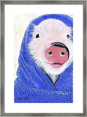 Piglet In A Blanket Framed Print by Twyla Francois