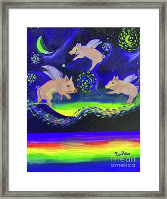 Pigs Flying Into Starry Night Framed Print by To-Tam Gerwe