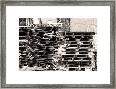 Pile Of Pallets Framed Print by Adriana Zoon