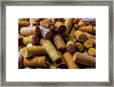 Pile Of Wine Corks Framed Print by Garry Gay