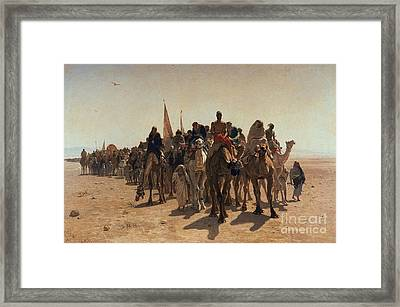 Pilgrims Going To Mecca Framed Print by Leon Auguste Adolphe Belly