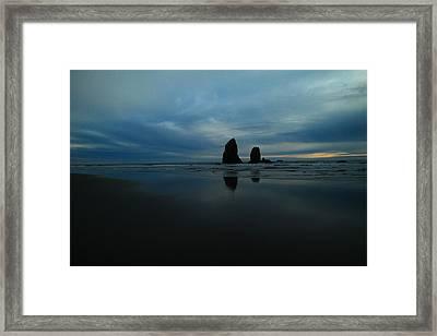 Pillars And Ocean Framed Print by Jeff Swan