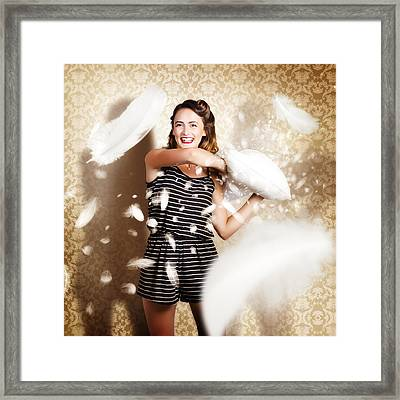 Pillow Fight Pinup Framed Print by Jorgo Photography - Wall Art Gallery