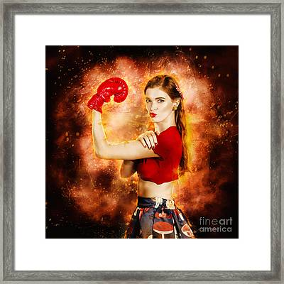 Pin Up Boxing Girl  Framed Print by Jorgo Photography - Wall Art Gallery