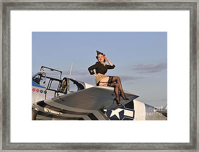 Pin-up Girl Sitting On The Wing Framed Print by Christian Kieffer