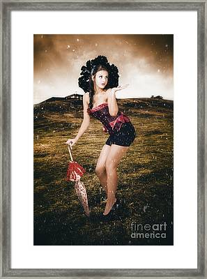 Pin Up Girl Standing In Field Under Summer Rain Framed Print by Jorgo Photography - Wall Art Gallery