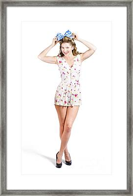 Pin-up Lady Playing With Hairstyle Accessory Framed Print by Jorgo Photography - Wall Art Gallery