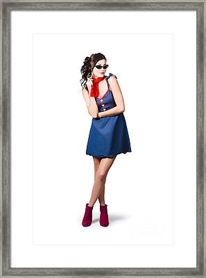 Pin Up Styling Fashion Girl In Retro Denim Dress Framed Print by Jorgo Photography - Wall Art Gallery
