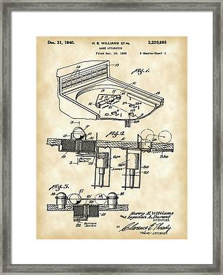 Pinball Machine Patent 1939 - Vintage Framed Print by Stephen Younts