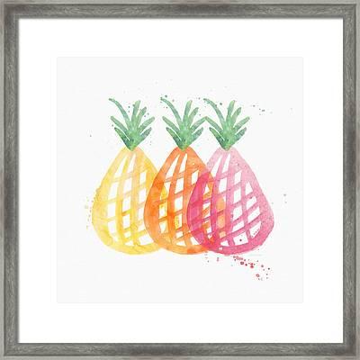 Pineapple Trio Framed Print by Linda Woods