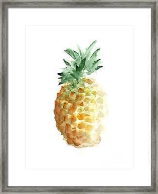 Pineapple Watercolor Minimalist Painting Framed Print by Joanna Szmerdt