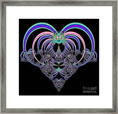 Pink And Blue Heart Fractal 82 Framed Print by Rose Santuci-Sofranko