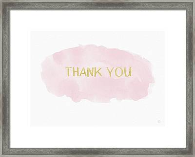 Pink And Gold Watercolor Wash Thank You- Art By Linda Woods Framed Print by Linda Woods