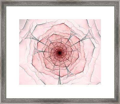 Pink And Gray Fractal Flower, Digital Artwork Framed Print by Oksana Ariksina