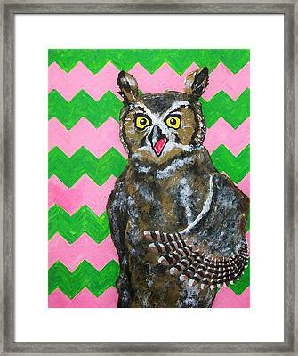 Pink And Green Chevron Owl Framed Print by Mike Kraus
