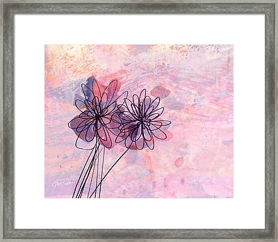 Pink And Lavender Abstract Flowers Framed Print by Ann Powell