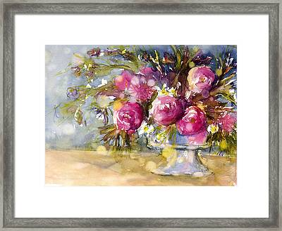 Pink And Navy Framed Print by Judith Levins