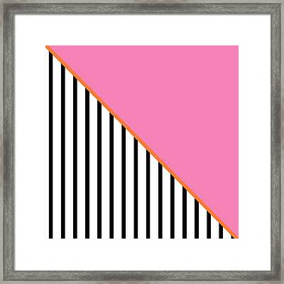 Pink And Orange And Black Geometric Framed Print by Linda Woods