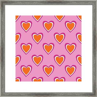 Pink And Orange Hearts- Art By Linda Woods Framed Print by Linda Woods