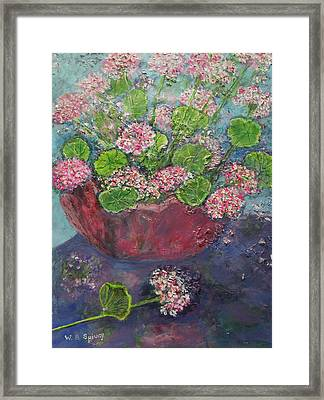 Pink And White Geraniums In A Red Pottery Vase Framed Print by William Spivey