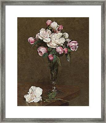 Pink And White Roses In A Champagne Flute Framed Print by Ignace Henri Jean Fantin-Latour
