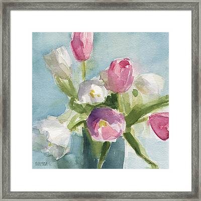 Pink And White Tulips Framed Print by Beverly Brown