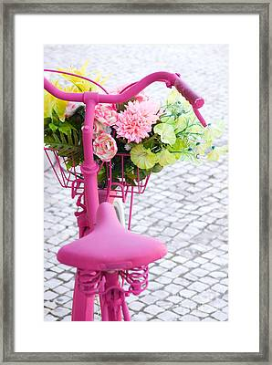 Pink Bike Framed Print by Carlos Caetano