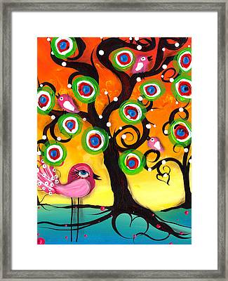 Pink Birds On A Tree Framed Print by  Abril Andrade Griffith