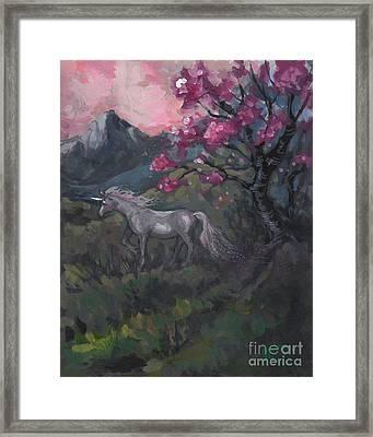 Cherry Blossom Unicorn Framed Print by Kim Marshall