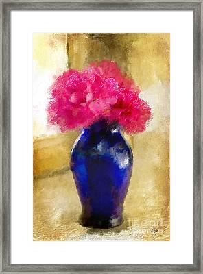 Pink Carnations In Cobalt Blue Vase Framed Print by Lois Bryan