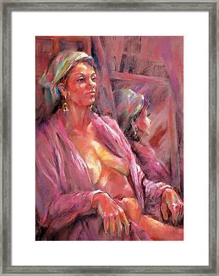 Pink Chenille Framed Print by Joan  Jones