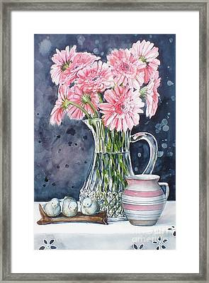 Pink Daisies In Crystal Pitcher Framed Print by Jane Loveall