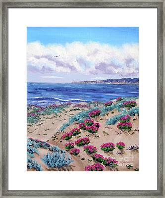 Pink Daisies In Sand Dunes Framed Print by Laura Iverson