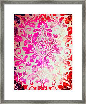 Pink Damask Pattern Framed Print by Aloke Design