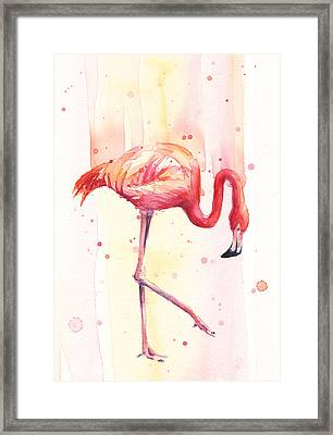 Pink Flamingo Watercolor Rain Framed Print by Olga Shvartsur