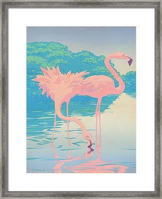 Pink Flamingos Abstract Retro Pop Art Nouveau Tropical Bird Art 80s 1980s Florida Decor Framed Print by Walt Curlee