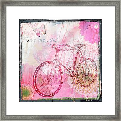 Pink Flower Bicycle Framed Print by WALL ART and HOME DECOR
