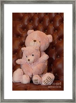 Pink Hugging Bears 2 Framed Print by Linda Phelps